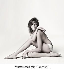 Fashion art portrait of a beautiful young sexy woman