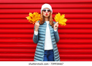 Fashion autumn woman holds yellow maple leaves on a red background in the city