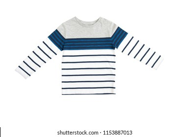 Fashion baby-boy T-shirt with long sleeves isolated on white background for spring and autumn wardrobe/ Baby clothes/ Close-up/ Flat lay/ Top view