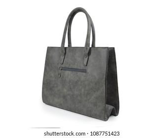 Fashion bag women grey handbag on white background isolated