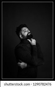 fashion beard man portrait, tattoo hand, Handsome man beard using smartphone in hand, happy face, street photo, hipster style portrait, tattoo, man close up portrait, black and white, beard man