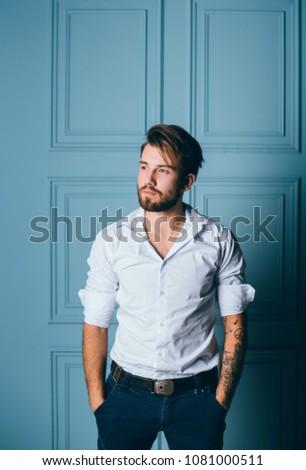 e2dff68fe fashion beard man portrait, tattoo hand, Handsome man beard using  smartphone in hand, happy face, street photo, hipster style portrait, tattoo  - Image