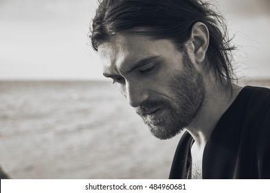 Black hair men with long Long Top,