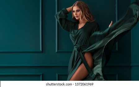 9be3c23f3727e Woman Green Dress Images, Stock Photos & Vectors | Shutterstock