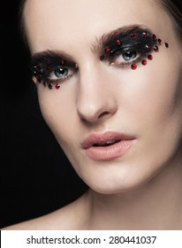 Fashion Beautiful Young Model With Red Lips Silver Glitter On Her Face