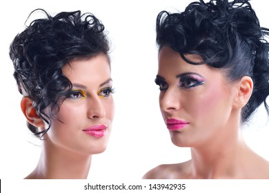 Fashion Beauty. Beautiful Woman With hairsyle  and Luxury Makeup isolated on white background in studio. Beautiful Girl Face