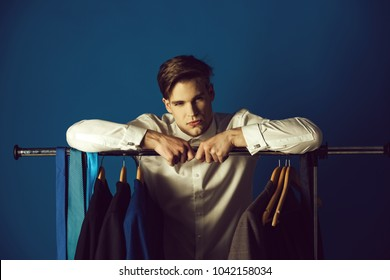 fashion and beauty, business and office wear, youth, muscular and healthy, shopping and wardrobe, boss and employee, man in shirt, copy space