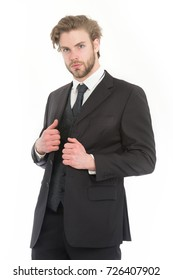 Fashion and beauty. Businessman or ceo in black jacket. Manager with beard on serious face. Business and success. Man in formal outfit isolated on white.