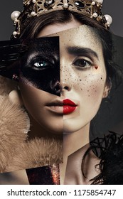 Fashion, beauty. Composition of women portraits in black paint and crown