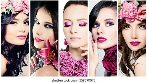 Fashion Beauty Faces. Set of Women. Purple Colors Makeup