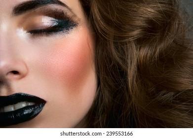 Fashion beauty female model with closed eyes