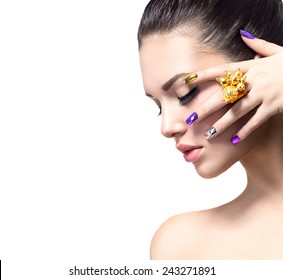 Fashion Beauty. Manicure and Make-up. Nail art. Beautiful Woman With Colorful Nails and Luxury Makeup. Beautiful Girl Face and Hand. Isolated on white background