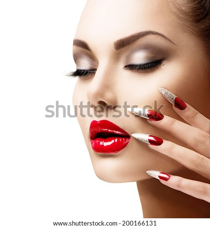 Fashion Beauty Model Girl Manicure Makeup Stock Photo Edit Now