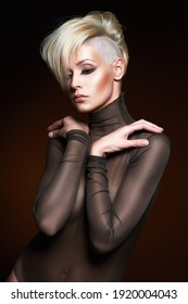 fashion beauty portrait of young woman with stylish haircut. beautiful blond girl with short hair and salon hairstyle
