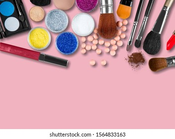 Fashion beauty product. Woman Essentials cosmetic makeup autumn Set. Collection beauty accessories on pink. Trendy Brushes accessories art fall Flat lay. Creative make up shopping concept