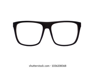 Fashion black eyeglasses isolated on white background with clipping path