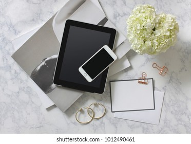 Fashion blogger woman desk. Lifestyle and conceptual.