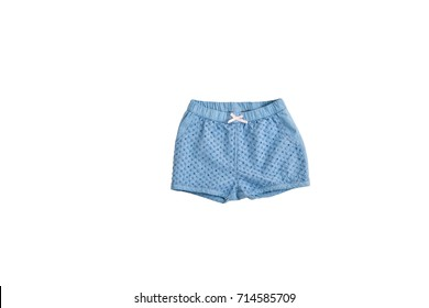 Fashion blue baby-girl shorts isolated on white background for spring and summer wardrobe/ Baby clothes/ Close-up/ Flat lay/ Top view