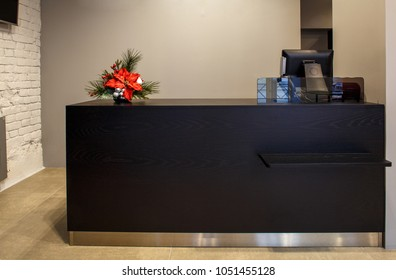 fashion boutique interior, furnished without clothes with empty shop display, clean and new designed interior. cashier terminal.