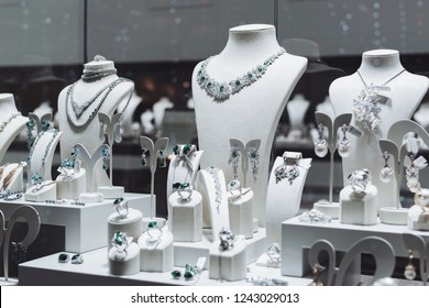 c1b68bd56e429f Fashion boutique with precious metal jewelery. Store jewelry in silver and  gold. Showcase is