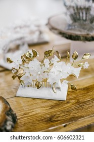 Fashion bridal. Gold jewellery floral decoration for hair.