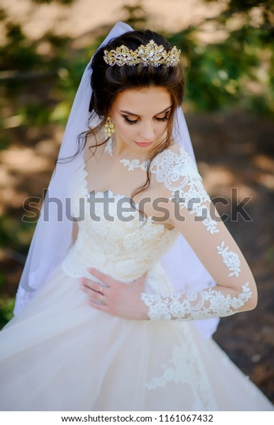 Fashion Bride Beautiful Woman Wedding Dress Stock Photo Edit Now