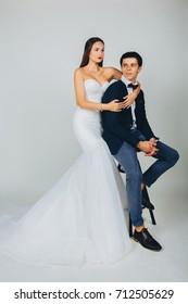 Fashion bride and groom