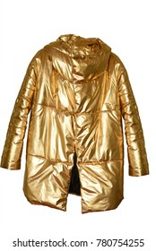 Fashion Brilliant gold winter jacket over white background