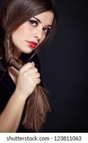 Fashion Brunette Girl. Healthy Long Hair, Haircut