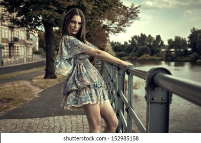 Fashion brunette woman