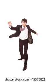 A fashion businessman on the move motion blur