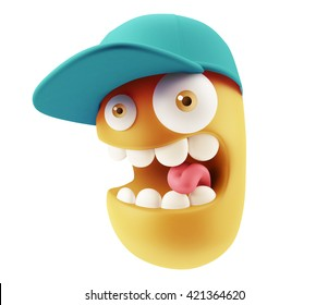 Fashion Cap Emoticon Character Face Expression. 3d Rendering.
