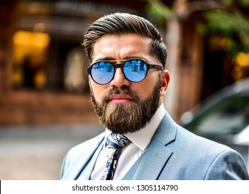 fashion caucasian male model handsome haircut elegant sexy attractive beard, stylish outfit suit adult man confident casual clothing lifestyle happy cool beauty with eyewear sunglasses shades