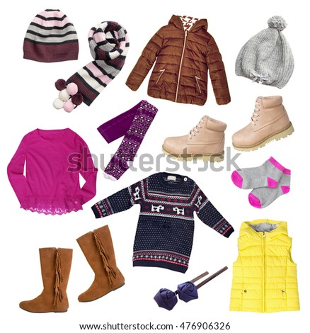 1dfc17b4b363 Fashion child girl s clothes set isolated on white. Autumn winter apparel  collage.
