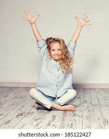 Fashion child. Portait girls studio shot