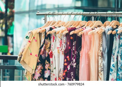 Fashion cloth of women on rack