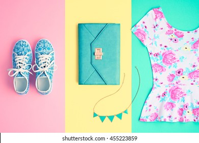 Fashion. Clothes Accessories Set. Trendy Wrist Watches, Stylish woman dress, Summer Glamor Clutch, Gumshoes. Hipster Girl Outfit. Flat lay. Minimal Pastel color