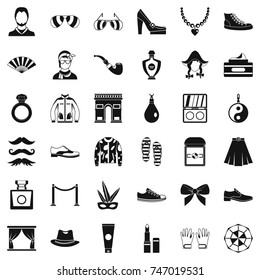 Fashion clothes icons set. Simple style of 36 fashion clothes  icons for web isolated on white background