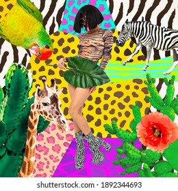 Fashion collage art. Brunette Lady holding palm leaf in fashion tiger print bodysuit and zebra boots. Tropical jungle wild creative concept. Animal lover
