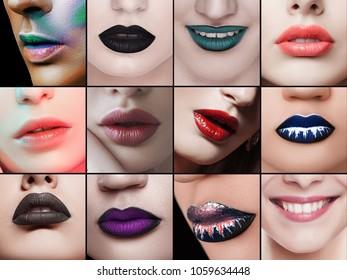 fashion collage of beautiful lips