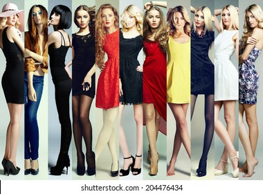 Fashion collage. Group of beautiful young women. Sensual girls
