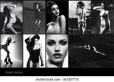 Fashion collage made of many shoots of young attractive women. Model portfolio.