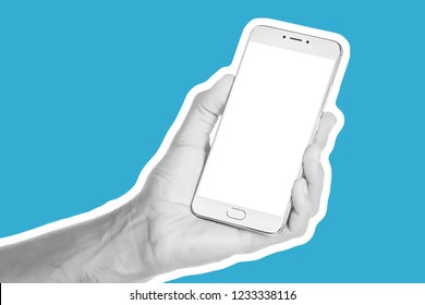 Fashion collage in magazine style and pop art style. Concept frame of blank smartphone. Young man holding a smartphone in the palm hand