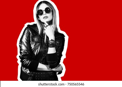 Fashion collage in magazine style of young hipster woman in sunglasses. Black leather jacket, red background.