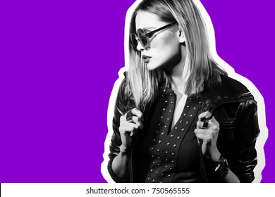 Fashion collage in magazine style of young hipster woman in sunglasses. Black leather jacket, violet background.