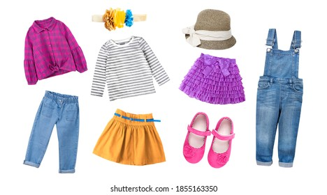 Fashion  colorful child girl's clothing,bright collection of kid's apparel,baby garment set,collage of clothes isolated on white. - Shutterstock ID 1855163350