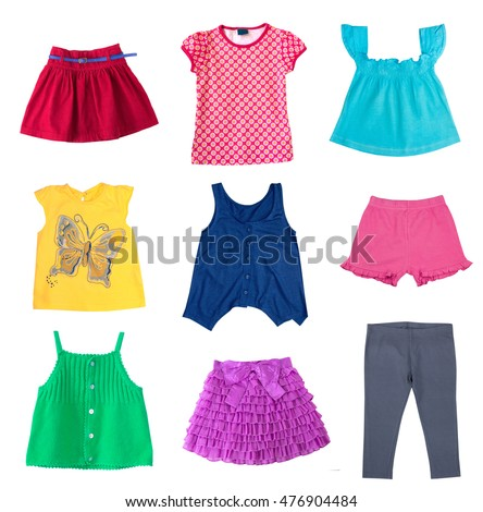 8eae042625 Fashion colorful diferent child girl clothes summer collage.Fashion kid's  wear set isolated on white