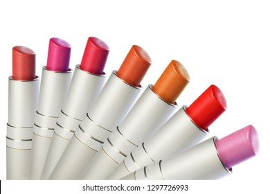 Fashion Colorful Lipsticks. Group of colorful lipstick on white background.