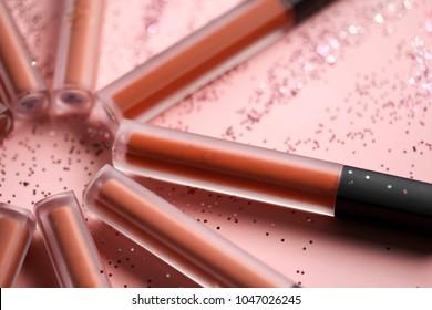 Fashion Colorful Lipsticks over black background,Professional Makeup and Beauty Lipsticks closeup Beautiful Make-up concept.