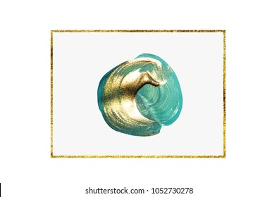 Fashion colors with golden paint. Very beautiful abstract art. Brush strokes on white background.  Color circle with metallic paint